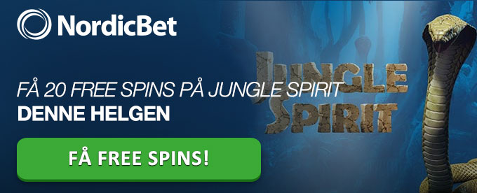 Få 20 free spins på Jungle Spirit hos Nordicbet