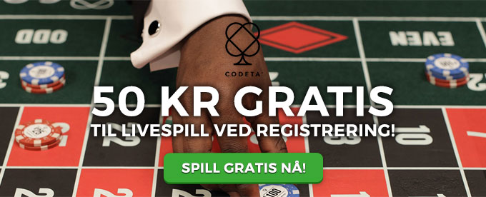 Få 50 kr gratis å spille for hos Codeta Casino