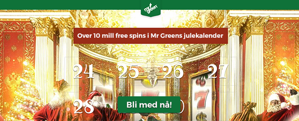 Over 10 millioner free spins i Mr Greens julekalender